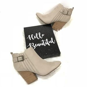 Shoes - faux suede belted ankle booties